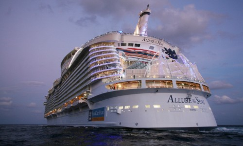 Launch of Royal Caribbean International's newest ship Allure of the Seas. Allure of the Seas leaving Fort Lauderdale.